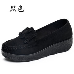 In the autumn of 2017 new old Beijing shoes shoes bottom slope with thick sponge peas with shallow mouth female work shoes Thirty-eight black