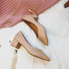 Korean grandmother shoes with thick pointed shoes 2017 new all-match documentary spring shallow mouth soft set foot shoes Thirty-eight Apricot