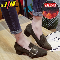 Foot push women's shoes, summer 2017 new style, autumn heel heel, spring single shoe girl fresh high heels casual shoes Thirty-eight Green velvet