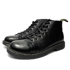 @ Hong Kong Style male artist winter shoes, men's outdoor retro desert black boots, leather army boots, Gao Gang Ma Dingxue Forty-three black