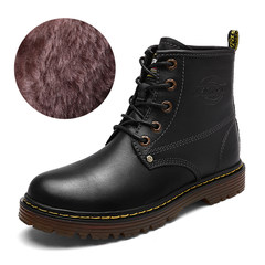 The British men's boots male leisure Martin boots male winter boots high boots for male male leather boots boots Forty-two 2001 Black Cashmere