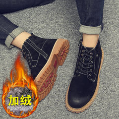 With velvet boots ankle boots high boots for men to help tide Martin all-match boots casual leather shoes in England Forty-one With all-match black velvet