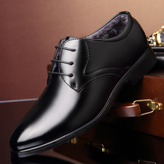 The dress of men's leather shoes black velvet shoes with pointed male winter young British business Korean leisure shoes soft Forty-one 9928 black velvet