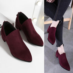 2017 new winter scrub deep mouth and velvet shoes shoes with thick British pointed shoes code Thirty-eight Wine red winter velvet