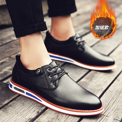 Mens Shoes Black all-match trend of Korean men's dress shoes and casual shoes business English suede shoes Forty-three Black velvet