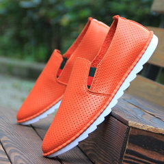 The British men's business casual shoes fall soft bottom shoes fashion trend of young men's casual shoes casual sports shoes Forty-three Orange red