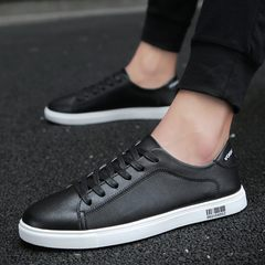 The 2017 summer microfiber leather sports shoes business white British fashion shoes breathable white young men Forty-three black
