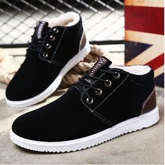 Autumn and winter men's casual shoes men business British tide male sports shoes with cotton shoes and warm shoes Forty-three Black velvet