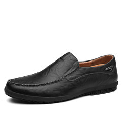 Every day, men's shoes Doug special offer male leather casual shoes leather shoes slip-on male British soft bottom shoes driving [usually leather shoes 40 wear 40] Black [8019]