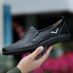 Autumn and winter peas male soft bottom shoes leather casual shoes men shoes breathable male drive loafer slip all-match men's shoes Forty-six 8888 black