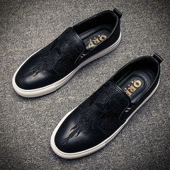The fall of the new Lok Fu sets foot stamp Shoes Mens Casual shoes in England increased trend of Korean men with velvet shoes Forty-two Legend black [not increase]