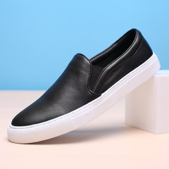 Men's casual shoes slip-on male loafer shoes leather shoes the trend of Korean pedal all-match Thirty-eight black