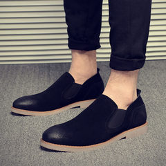 In the autumn of 2017 British Mens Casual Shoes trend of Korean frosted pedal leather loafer shoes tide Thirty-eight black