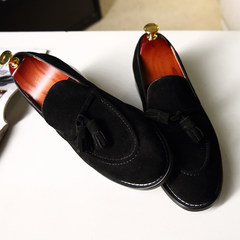 Handmade loafer Leather Shoes Mens tassel low British pedal lazy men and casual cashmere leather loafers Forty-four black