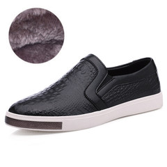 The British winter leisure shoes leather loafer male leather pedal lazy trend of Korean all-match shoes Thirty-eight Cotton alligator black