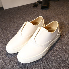 To shoes men's leather shoes casual shoes Kevin white leather shoes. The autumn lazy Shoes are bigger than a yard 003 white increase