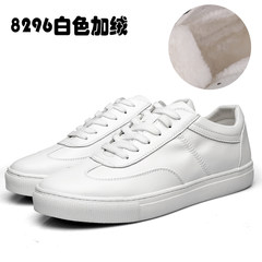 The young men loafer white shoes leather casual shoes with Korean men in British men's shoes white cashmere Thirty-eight White Velvet