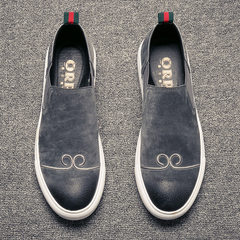 Loafer male leather in autumn rise a set of young British lazy Wukong casual shoes shoes shoes Thirty-eight Grey [internal increase]