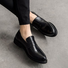 The British men set foot pointed shoes increased loafer pedal business casual shoes Korean lazy shoes Forty-four Quiet black routine