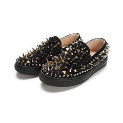 2017 winter new style leisure, British men tide shoes, punk rivet shoes, flat shoes, men's foot pedal lazy shoes Forty black