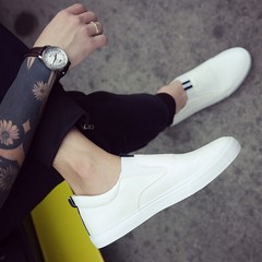 Small white shoes, one foot boots, British white men's casual shoes, peas shoes, le fu shoes, young social shoes Thirty-eight white