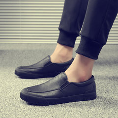 Wu Di with the spirit of social man Qi card lazy loafer British pedal shoes casual shoes Forty-three black
