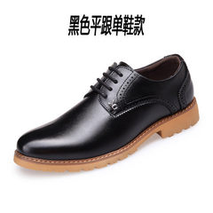 The winter men's leather shoes and dandy Bullock cashmere thermal increase in business casual shoes youth Thirty-eight Black does not increase (four seasons)