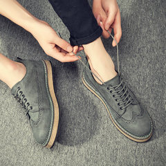 2017 new Korean male black shoes Bullock leather shoes men's casual shoes all-match England free shoes men Thirty-eight Four seasons gray gift