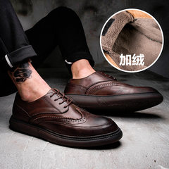 Men's casual shoes, leather shoes and Bullock winter warm cashmere men's fashion shoes shoes all-match. Thirty-eight Coffee (cashmere)