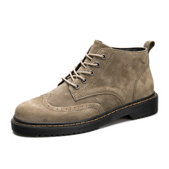 New British Fashion Leather Men's shoes for casual shoes. Bullock Martin boots with thick bottom. Forty-two Khaki