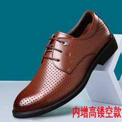 Mens Black Leather Size Round business suits in winter with increased 6cm men's cashmere warm shoes Forty-one Brown raised hollow section