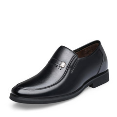 The first winter business dress shoes male leather plus cashmere thermal increased in the elderly father casual shoes Thirty-eight Black suede shoes