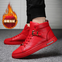 """With the increase in winter warm cashmere shoes Korean youth trend ups all-match sports shoes men Forty-four 905 red flat bottom """"velvet"""""""