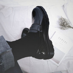 Japanese retro shoes casual shoes set foot in South Korea Le Fu Chao British black head Martin Hong Kong Wind shoes shoes Thirty-eight black