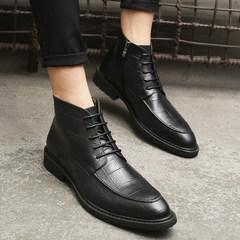 Winter Boots Men leisure shoes two Korean version of the British tide pointed black velvet hair stylist shoes Forty-three Black [raised] velvet