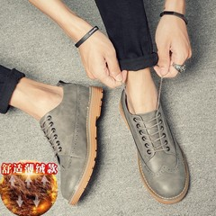 2017 new fall trend of Korean men shoes shoes casual shoes all-match free shoes leather shoes in England Thirty-seven Gray increase cashmere