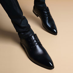 In autumn, 6cm leather shoes are made of pointed lace Thirty-eight Increase in dark without holes plus velvet