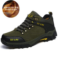 Autumn and winter men's casual shoes hightops shoes and Sneakers Men warm cashmere size dad hiking shoes shoes Thirty-eight Deep green