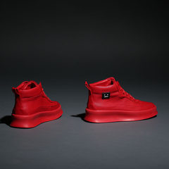 Hightops male trend of Korean skateboard shoes Gobon red winter men's hip hop movement with velvet warm tide shoes Thirty-eight Red [cashmere]