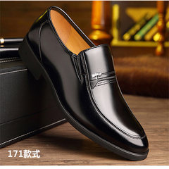 Men's leather shoes and leather business suits cashmere male winter men's shoes in leather shoes shoes head dad elderly leisure Forty-six 171 black