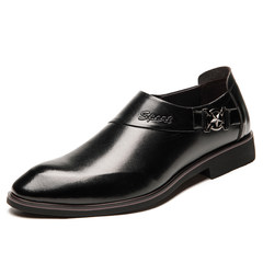 Male leather shoes leather shoes business suits the warm winter men's casual shoes. The shoes with pointed velvet Thirty-eight black