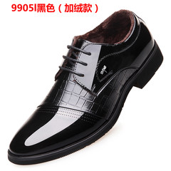 Mens business suits leather shoes, casual shoes black British winter Korean students increased. Thirty-eight 9905 black (standard plus cashmere gift gift)