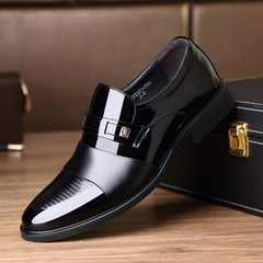 LAORENTOU shoes male leather genuine business suits in men's casual shoes and the increase of 6cm Thirty-eight 77021 black