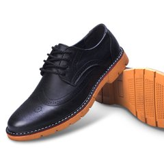 Leather shoes with male cotton shoes and young British men's dress shoes lace wedding shoes business Korean pointed leather shoes Thirty-eight Bullock black
