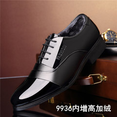 The dress of men's leather shoes black velvet shoes with pointed male winter young British business Korean leisure shoes soft Forty-four 9936 increase with velvet money