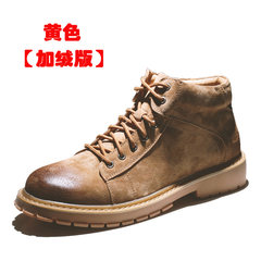 Autumn trend boots, men's English wind shoes, 2017 new boots, men's Retro Martin boots, men's high Gang Thirty-eight Yellow brown (with NAP)