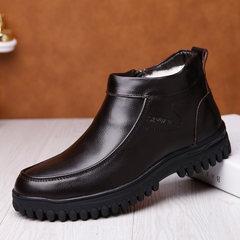 Winter cotton-padded shoes for men warm and fuzzy men leather shoes for middle-aged and old people high help thicken leisure shoes for winter dad 38 dark brown shoes