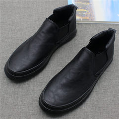 A pedal for men's casual shoes soled shoes Pu shoes men face minimalist trend in the new high Forty-three black