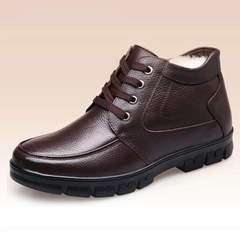 Men's shoes and men's winter male cashmere leather shoes Bangmian thickened high old leather shoes warm old dad Thirty-eight Brown temperament