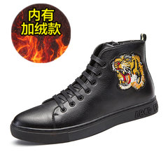 Winter high shoes adidas shoes with warm trend of Korean male cashmere leather shoes high TK in England Thirty-eight 69 black (with NAP)